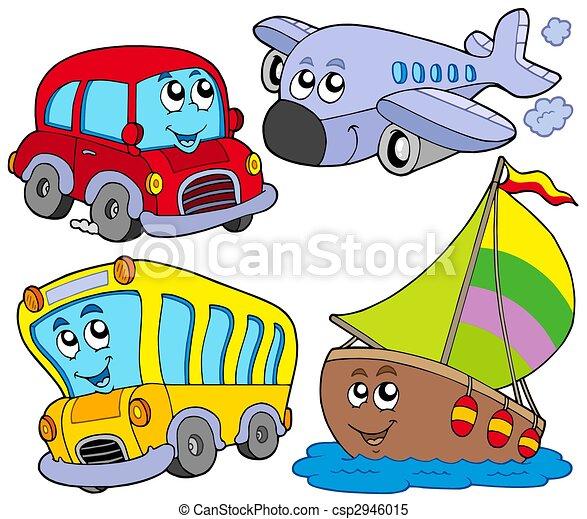 Varios vehículos de dibujos animados - csp2946015