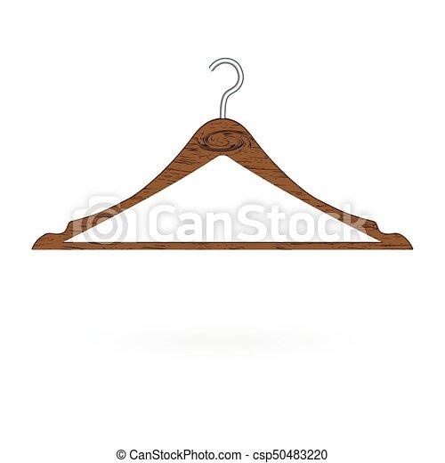 Perchero de ropa de madera aislado en el fondo blanco. Ilustración de vectores - csp50483220