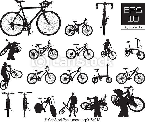 Silueta de bicicleta vector puesta - csp9154913