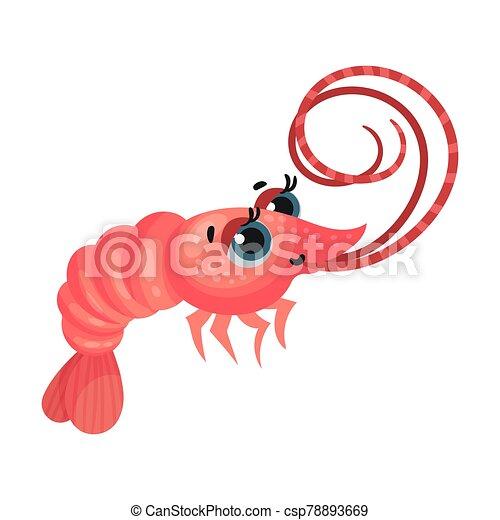 vector, caricatura, camarón, ilustración, grande, lindo, ojos, carácter - csp78893669