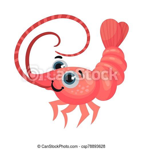vector, caricatura, camarón, ilustración, grande, lindo, ojos, carácter - csp78893628
