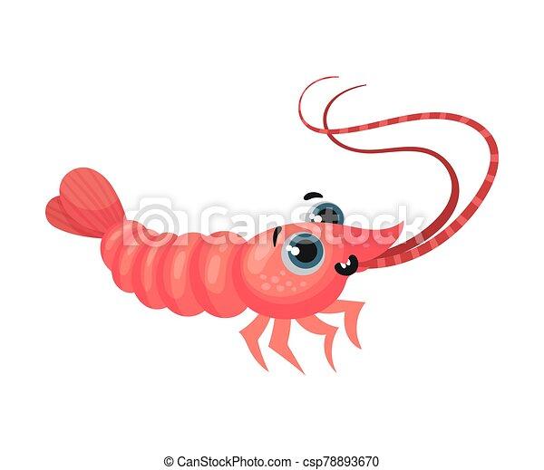 vector, caricatura, camarón, ilustración, grande, lindo, ojos, carácter - csp78893670