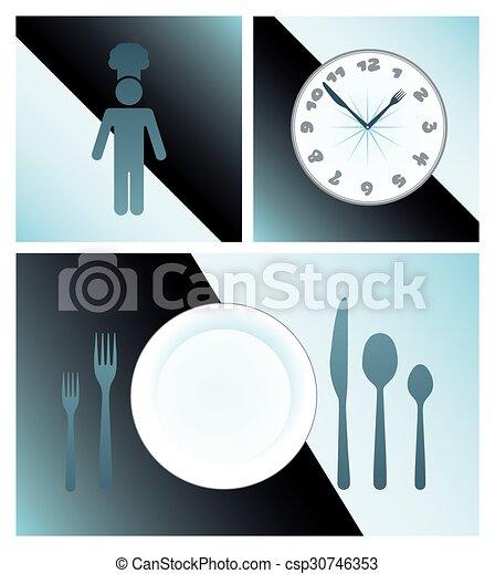 Cena y cocción de icono vector - csp30746353