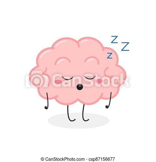 vector, cerebro, divertido, ilustración, caricatura, dormido, carácter - csp87156677