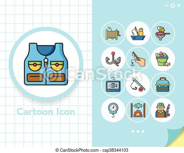 Icono fijado vector de pesca - csp38344103