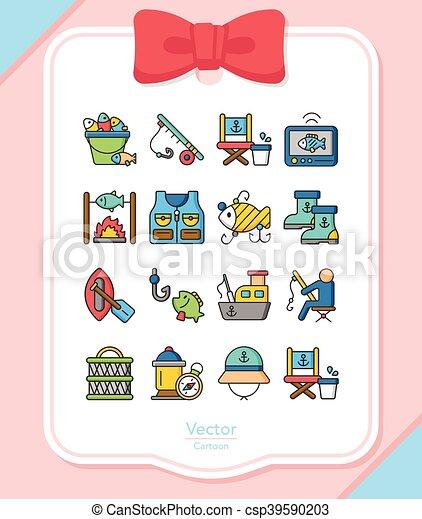 Icono fijado vector de pesca - csp39590203