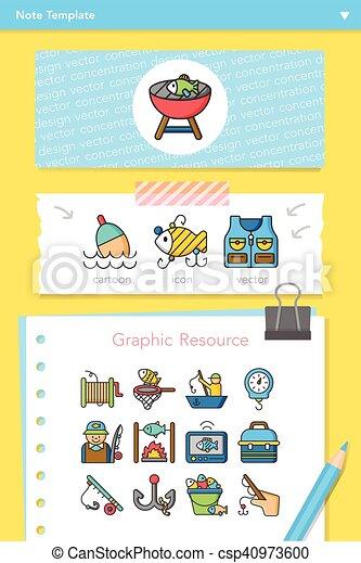 Icono fijado vector de pesca - csp40973600
