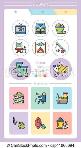 Icono fijado vector de pesca - csp41860694