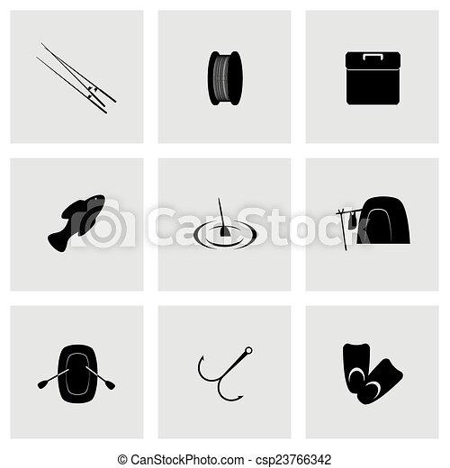 Icono de pesca Vector - csp23766342