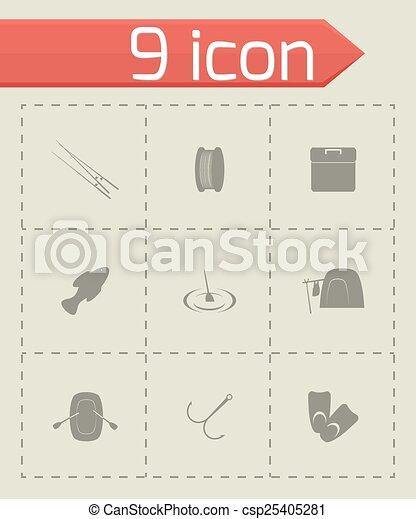 Icono de pesca Vector - csp25405281