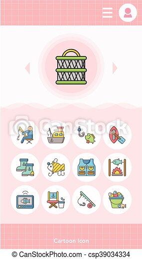 Icono fijado vector de pesca - csp39034334