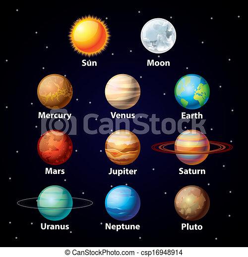 Vector de planetas brillantes fijados - csp16948914