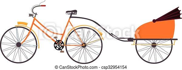 Vector de vectores de rickshaw indio ilustración de transporte de viaje tirado por bicicleta - csp32954154