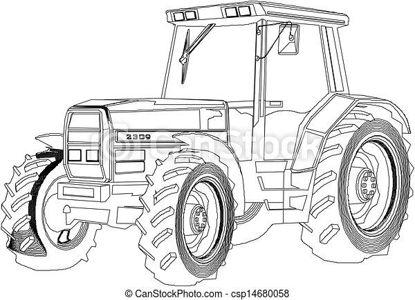 Vector dibujando tractor - csp14680058