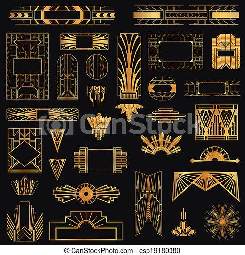 Marcos de arte y elementos de diseño en vector - csp19180380