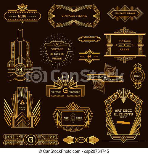 Marcos de arte y elementos de diseño en vector - csp20764745