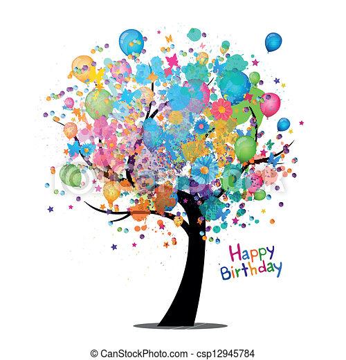 Vector feliz tarjeta de cumpleaños - csp12945784