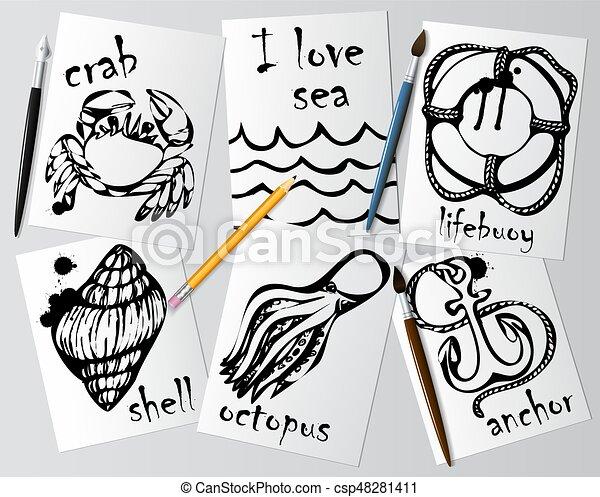 Dibujos gráficos de animales marinos hechos con rímel negro en papel blanco. Lápiz, cepillo y pluma en la mesa. Dibujo y creatividad en el tema del mar. Vector - csp48281411