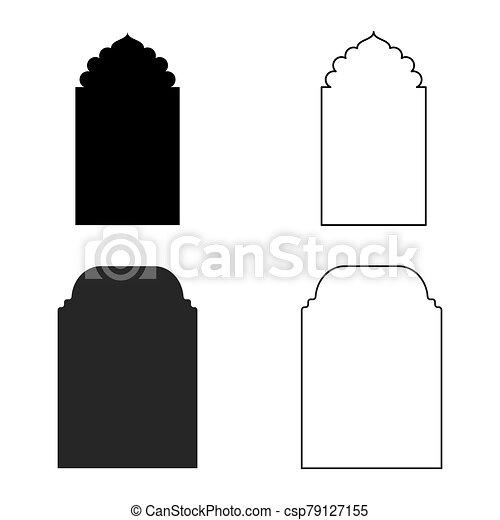 vector, icono, conjunto, ventana, islámico - csp79127155