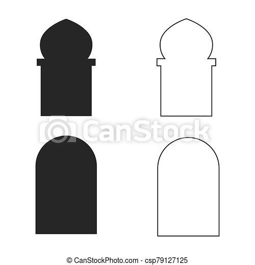 vector, icono, conjunto, ventana, islámico - csp79127125