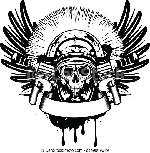 Cráneo de imagen vector en casco y espada cruzada - csp9009679
