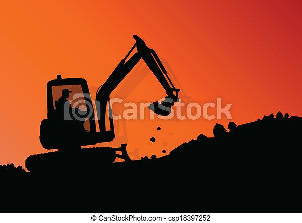 Excavador de carga hidráulica tractor y trabajadores excavando en el vector industrial de construcción ilustración de fondo - csp18397252