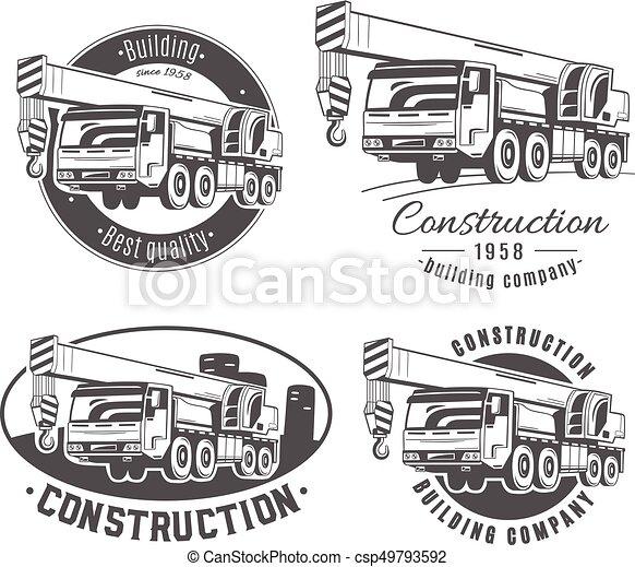 Una grúa montada en camiones. Logos vectoriales. - csp49793592