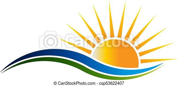 Logotipo de sol en ondas de ilustración vectorial - csp53622407