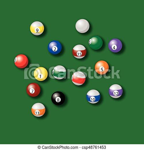 Bolas de billar en el vector verde de la mesa - csp48761453