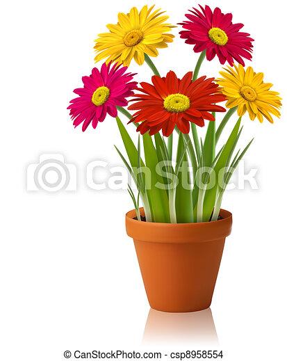 Un vector de flores de primavera - csp8958554