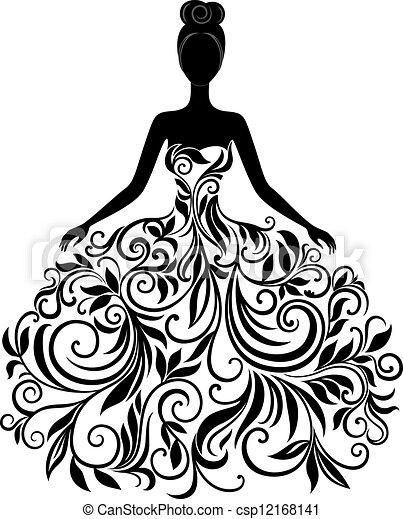 Vector silueta de jovencita vestida - csp12168141