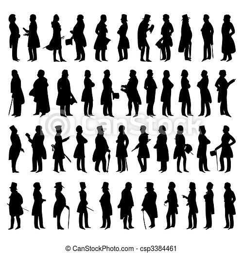 Siluetas de hombres con traje. Una ilustración del vector - csp3384461