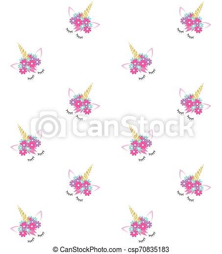 Vector sin costura de cara de unicornio - csp70835183