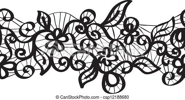 Vector sin costura de encaje negro - csp12188680