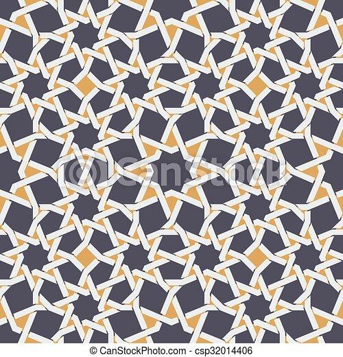 Vector sin costura de estrella islámica en patrón geométrico amarillo y azul - csp32014406
