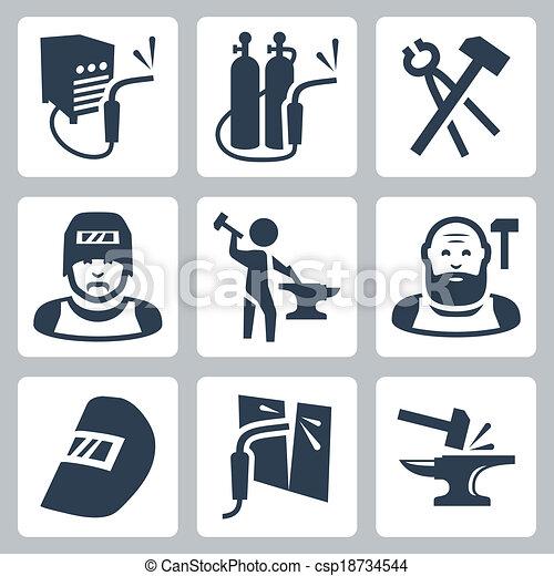 Vector soldador y iconos herreros listos - csp18734544