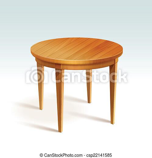 Vector vacío mesa redonda de madera - csp22141585