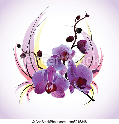 Una tarjeta de felicitación con orquídeas - csp5915348