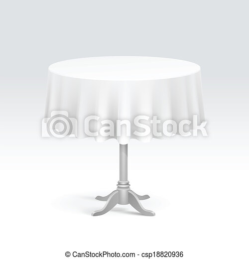 Vector vacío mesa redonda con mantel - csp18820936