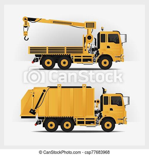vector, vehículos, construcción, ilustración - csp77683968