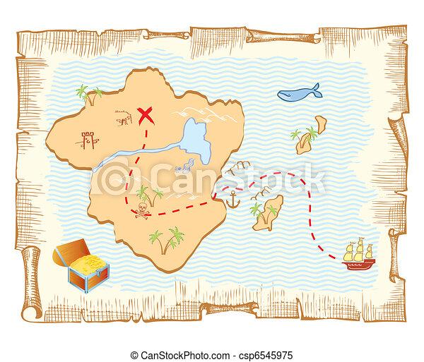 El mapa del tesoro. Vector de antecedentes de papel - csp6545975