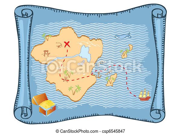 El mapa del tesoro. Vector de antecedentes de papel - csp6545847
