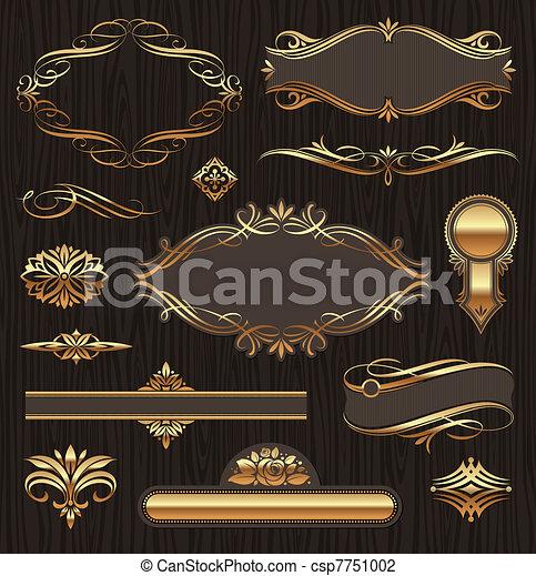 Vectores conjuntos de adornos de páginas de oro: estandartes, marcos, devidrios, adornos y patrones en el fondo oscuro de la madera - csp7751002