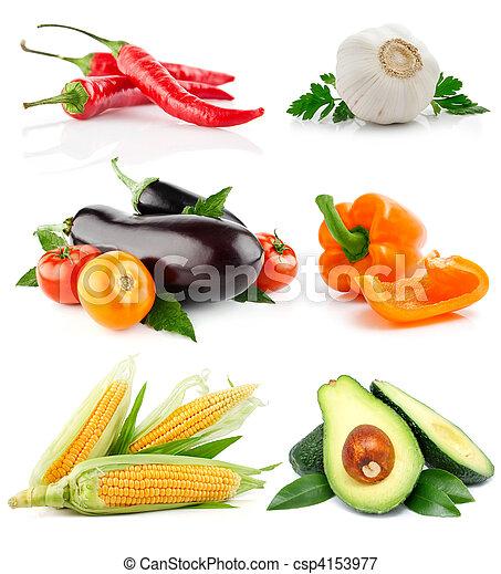 Coloca frutas vegetales aisladas en blanco - csp4153977
