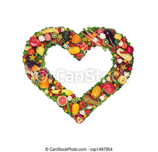 Fruta y corazón vegetal - csp1497954