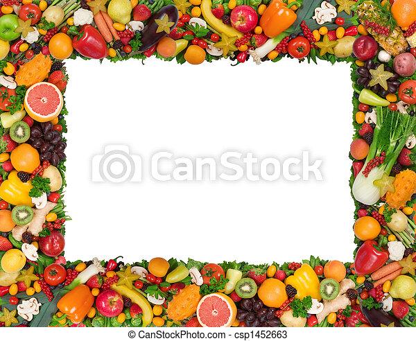 Fruta y marco vegetal - csp1452663