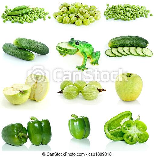 Fruta verde, bayas y verduras - csp1809318