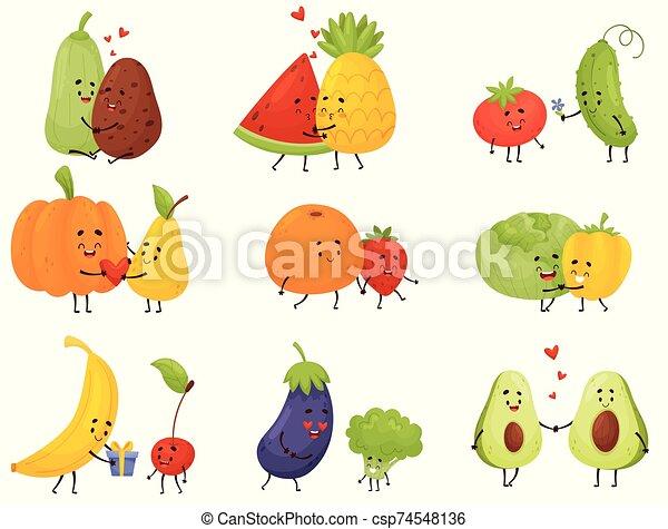 vegetales, humanized, conjunto, vector, fruits., ilustración, fondo., blanco - csp74548136