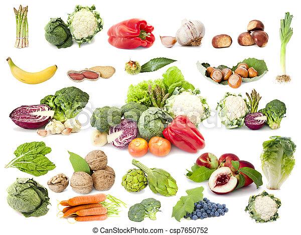 Colección de frutas y verduras, dieta vegetariana - csp7650752