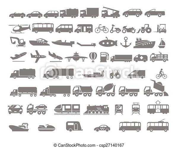Vehículo y transporte icono plano - csp27140167